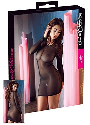 Cottelli Collection Party – priesvitné šaty s dlhými rukávmi (čierne)