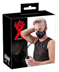 LATEX - pumpkin face mask with penile mouthpiece (black)